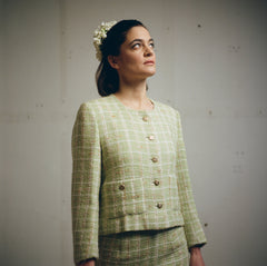 Maria wears vintage pistachio green Chanel Suit, Flowers by Tuk Tuk Flower Studio
