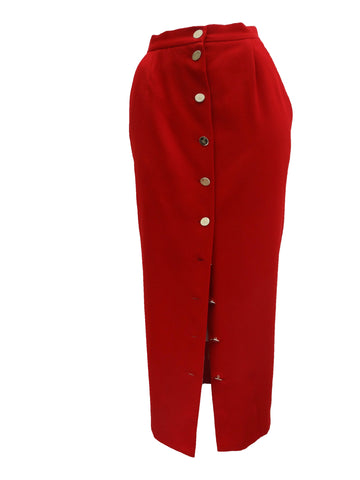Vintage Vivienne Westwood Button Through Tailored Red Wool Skirt, UK10-12