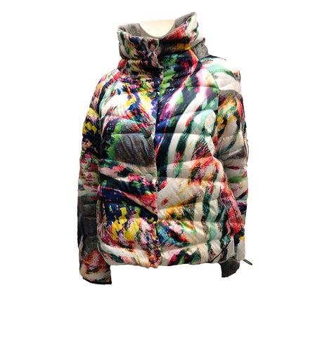 Escada Puffer Jacket in Psychedelic Fantasy Print, UK12