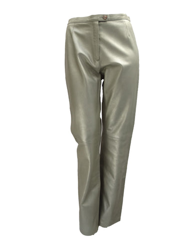 Paule Ka Silver Leather Trousers UK10