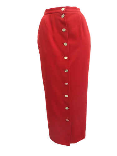 Vintage Vivienne Westwood Button Through Tailored Red Wool Skirt UK10-12