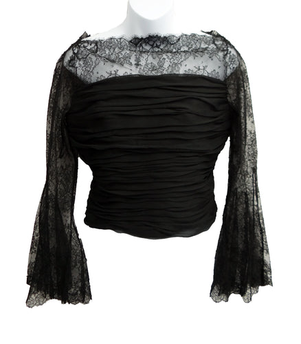 Valentino Ruched Lace Evening Top, UK10