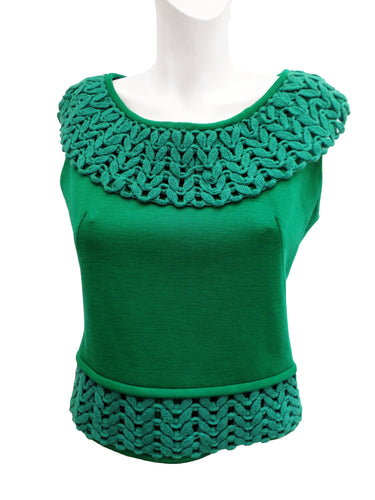Vintage Emerald Green Sleeveless Knitted Top with Looped Edges, 1960s, UK10-12