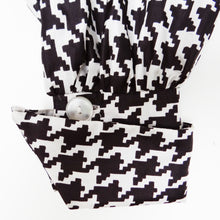 Vintage Houndstooth Print Silk Blouse, c.1980, UK10-12