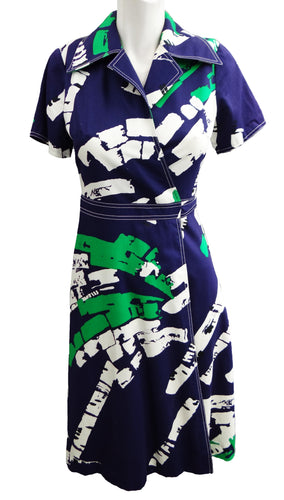 Vintage Fenno Sport Wrap Dress with Bold Abstract Graphic, c.1970s, UK10