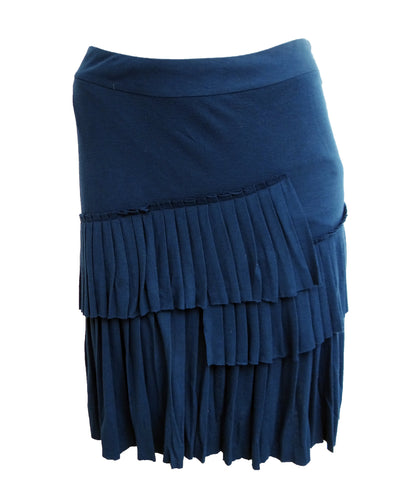 ErotoKritos Navy Jersey  Skirt with Pleated Ruffle, UK10