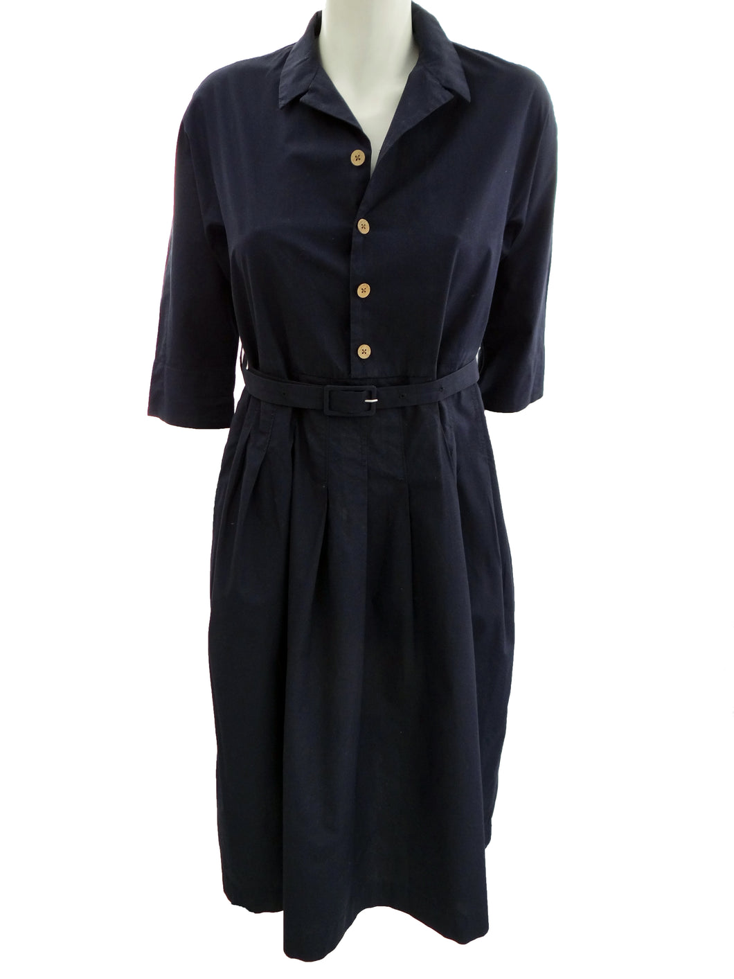 Navy Blue Shirt Dress with Pleated Skirt by Umu908, UK10-12