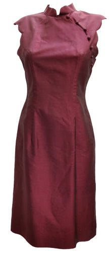 Plum Silk Cheongsam Dress, M