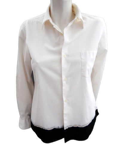 Comme des Garcons Black Label White Shirt with Dip Dyed Hem, UK10