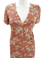 Freda Floral Rose Silk Summer Dress UK14