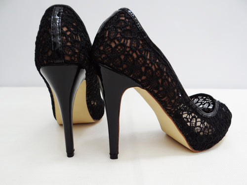 Jimmy Choo Lace Peep-Toe Evening Heels, UK7