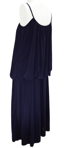 Vintage Lanvin Navy Blue Tubular Evening Gown UK12