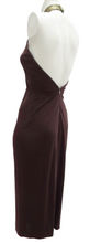 Halston Studio 54 Brown Jersey Halter Dress with Gold Collar UK10