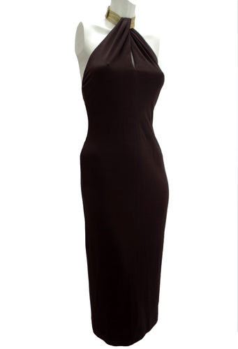 Halston Studio 54 Brown Jersey Halter Dress with Gold Collar, UK10