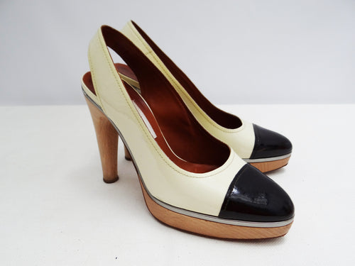 Lanvin Two Tone Patent Slingbacks with Wooden Heels and Platforms, UK6.5