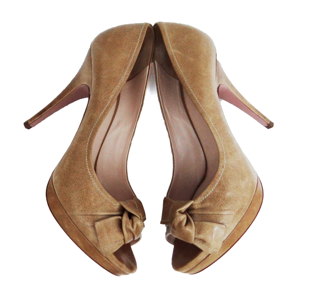 Prada Peep-toe Heels in Tan Leather, UK5.5