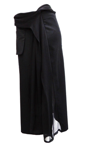 Yohji Yamamoto  Skirt with Chiffon Panel and Wrap Belt, UK10