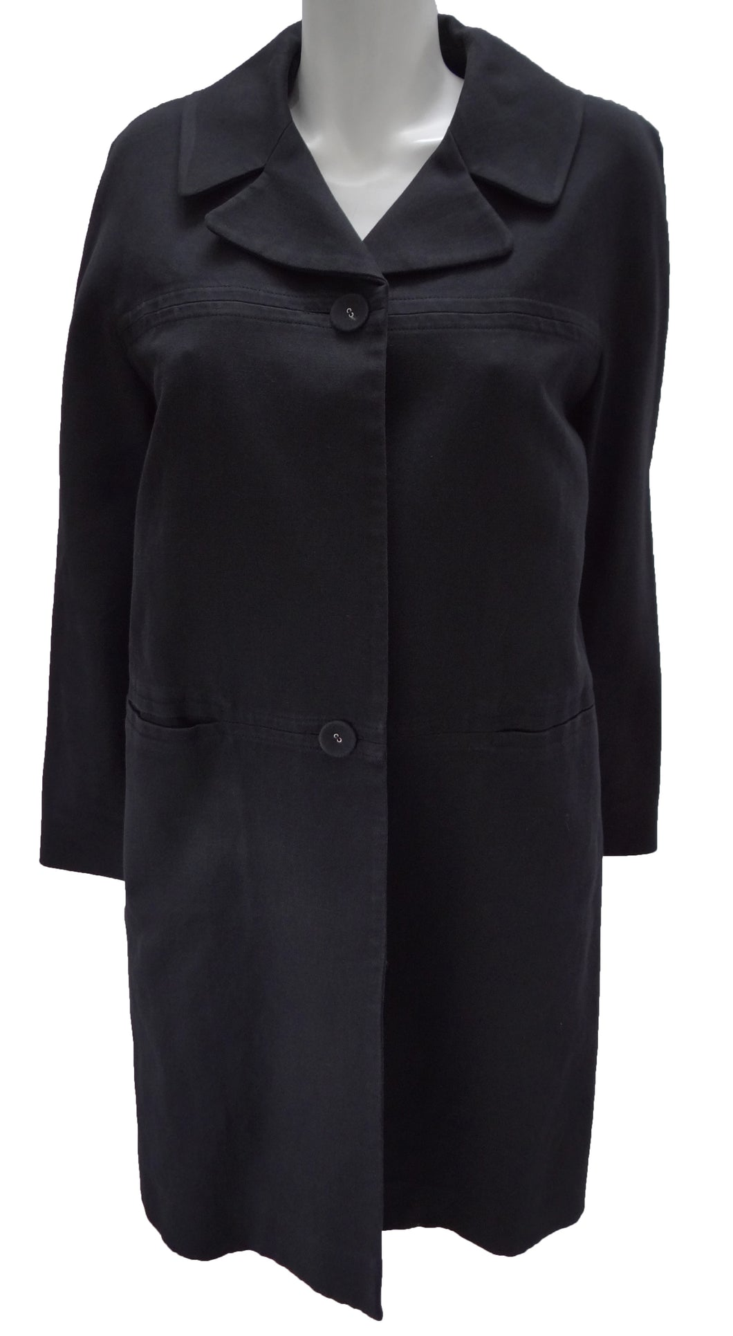 Nicole Farhi Black Linen Duster Coat UK12