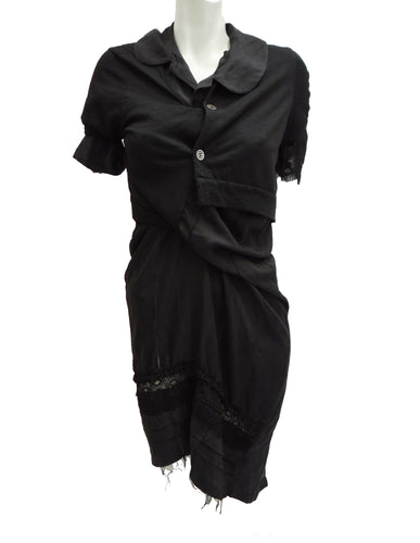 Junya Watanabe Silk and Lace Shirt Dress with Integral Cardigan, UK10
