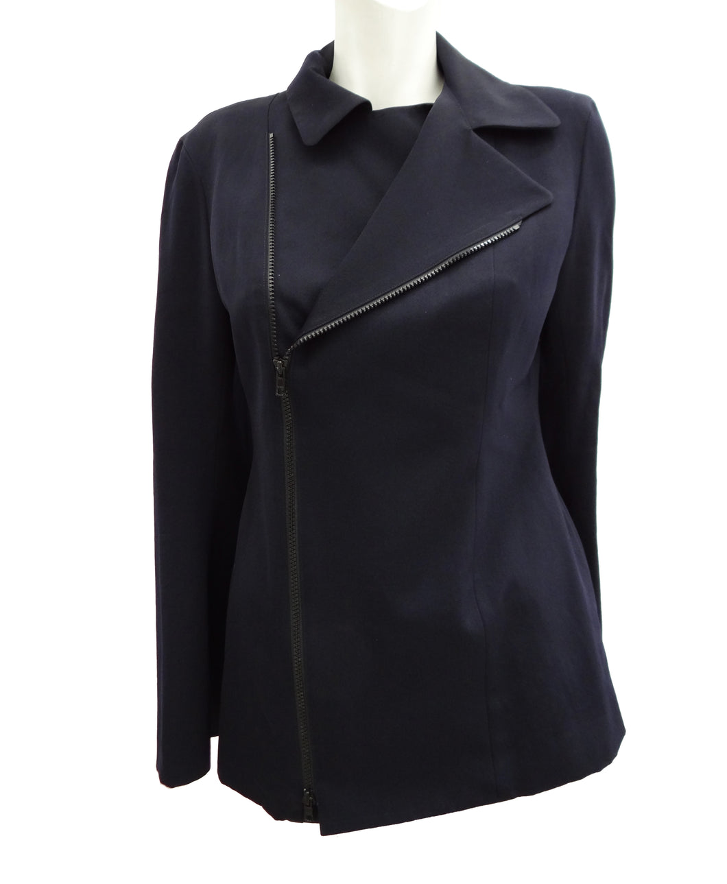 Yohji Yamamoto Y's Navy Tailored Biker Jacket, UK10-12