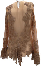Alberta Ferretti Sheer Flesh Coloured Lace Blouse UK10