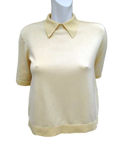 Issa Pale Yellow Collared Knit Top, UK10-12