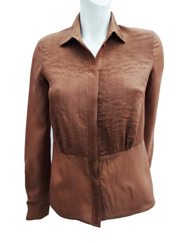 Issa Pintuck Blouse in Cinnamon Silk, UK8