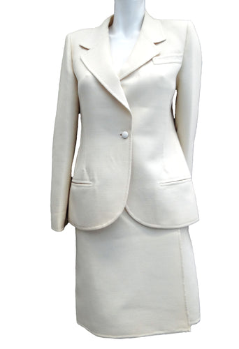 Vintage Mila Schön Cream Wool Skirt Suit, UK10