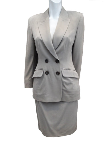 Vintage Jil Sander Skirt Suit in Putty Wool, UK10