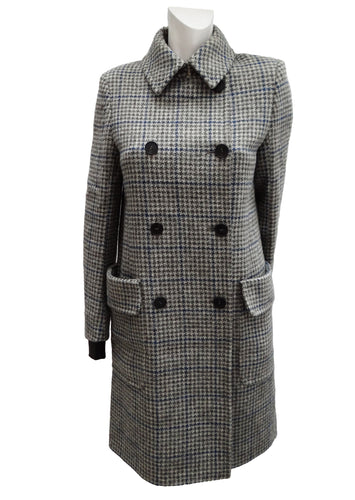 Bally Double-Breasted Coat in Harris Tweed, UK10