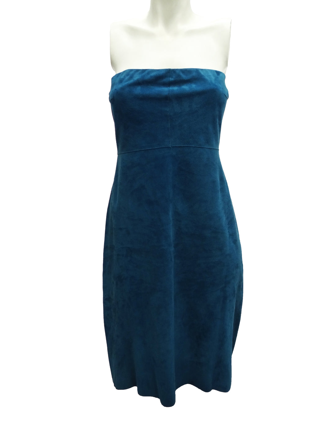 Tahari Petrol Blue Strapless Suede Sheath Dress, UK10-12