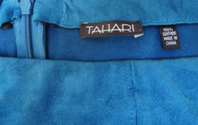 Tahari Petrol Blue Strapless Suede Sheath Dress Uk10-12