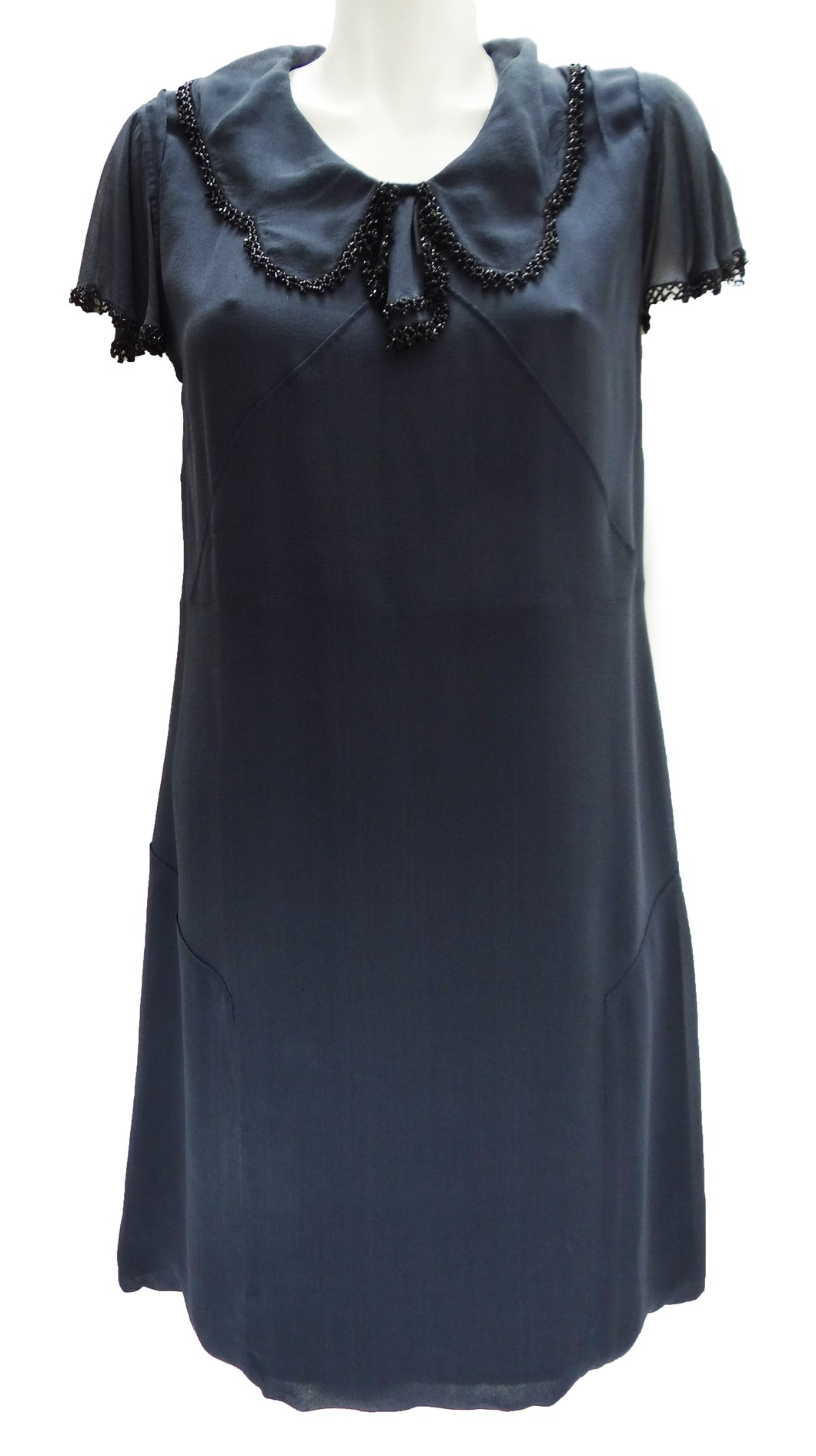 Nicole Farhi Charcoal Grey Silk Shift Dress with Beaded Trim UK12