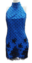 Vintage Electric Blue Silk Halter Mini Dress with Lace Shell c.1987 UK10-12