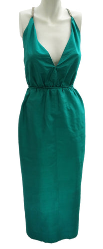 Vintage Emerald Green Silk Long Evening Gown with Diamante Straps UK10