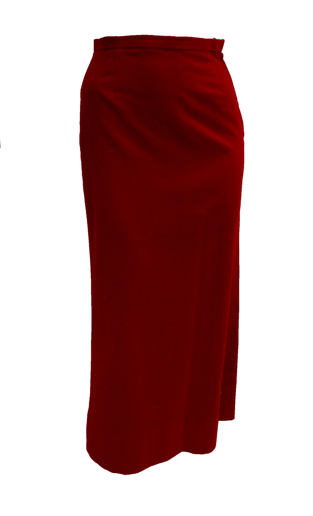 Vintage Martinique Long Skirt in Cranberry Velvet, UK8-10