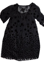 Anna Sui Smock Dress in Black Velvet Devore, UK 10
