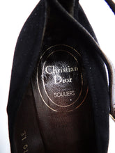 Christian Dior Vintage Black Suede Heels with Ankle Strap, UK4.5