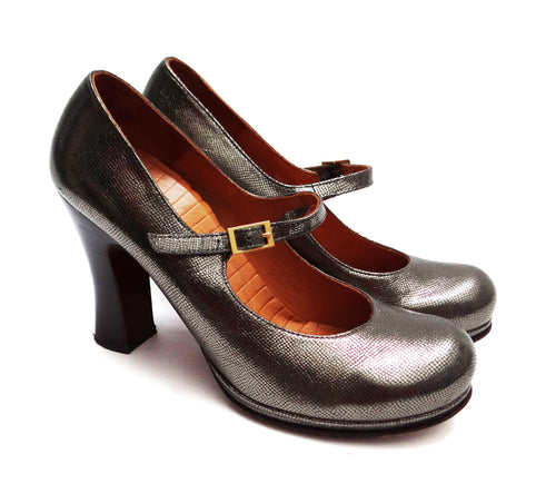 Chie Mihara High Heeled Pewter Mary Jane Shoes, UK7