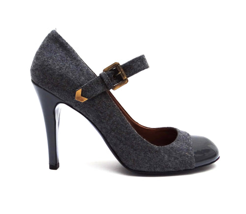 Stella McCartney Grey Felt High Heeled Mary Jane Shoes, UK 6