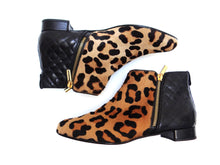 Russell & Bromley Ankle Boots in Leopard Skin and Quilted Leather, UK 5- 5.5