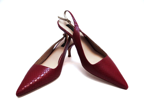 Escada Slingback Shoes in Raspberry Snakeskin, UK6.5