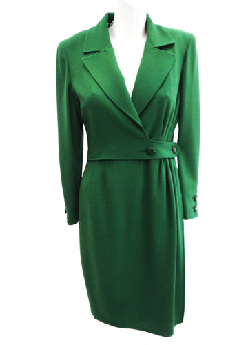 Vintage Valentino Boutique Emerald Green Wool Coat Dress, UK10
