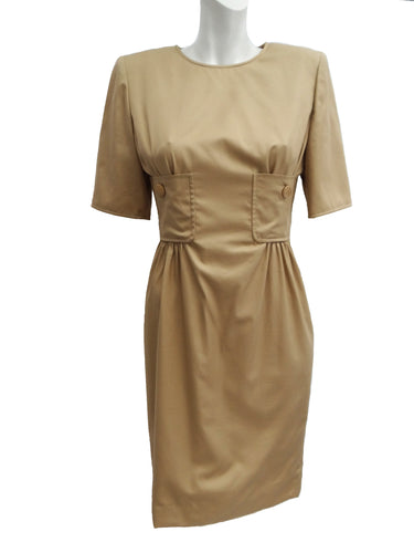 Vintage Valentino Boutique Camel Dress with Pocket Detail, UK10