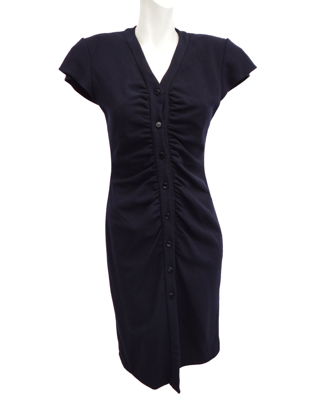 Vintage Valentino Boutique Ruched Buttoned Dress in Navy Wool Crepe, UK10