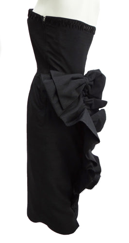 Vintage Black Silk Strapless Cocktail Dress c.1984 UK10-12