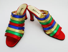 Bally Multicoloured Metallic Strappy Heeled Mules UK3.5-4