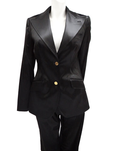 Dolce & Gabbana Trouser Suit in Black Satin, UK12-14