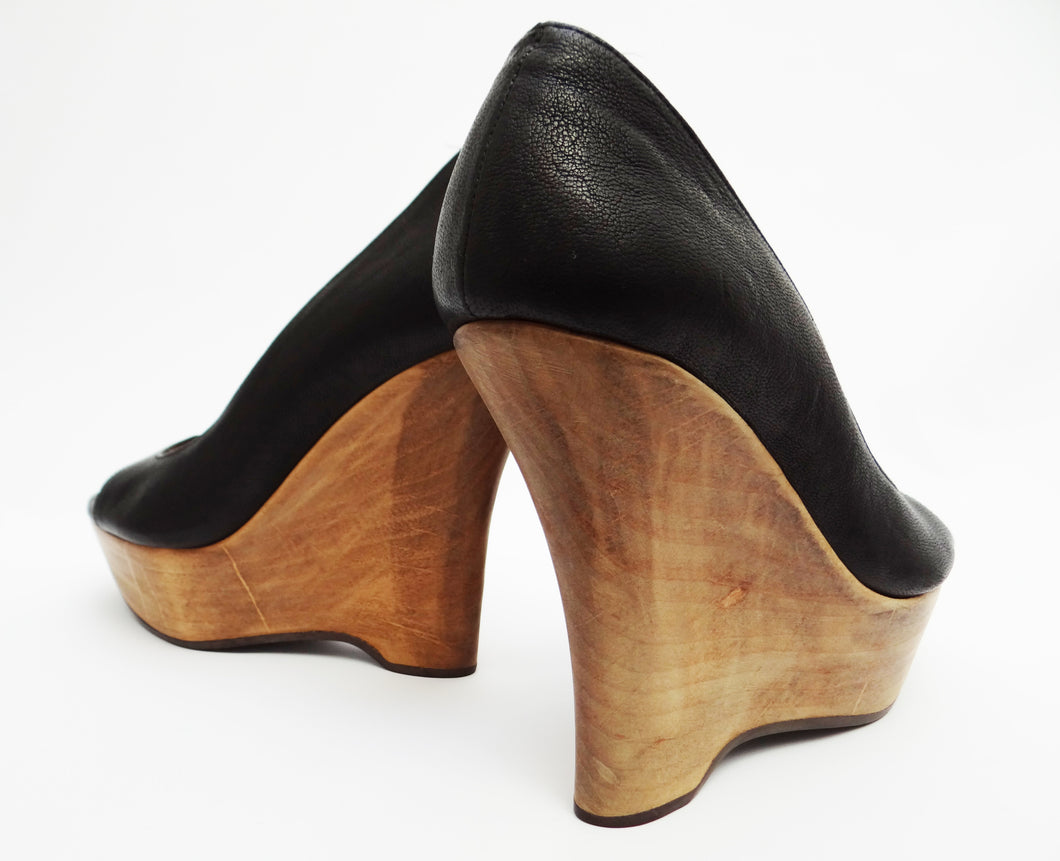 Lanvin Peep Toe Sculpted Wooden Wedges UK4