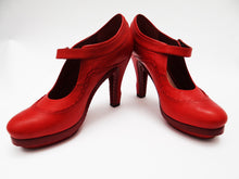 John Galliano High Heeled Mary Jane Shoes in Pillar Box Red Leather UK4